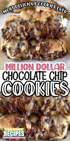 This Best Million Dollar Cookies Dessert Recipe from Smart School House is #6 on our list of BEST Million Dollar Recipes! Chocolate Cookie Recipes, Cookie Desserts, Dessert Chocolate, Chocolate Chip Cookies Chewy, Desserts With Chocolate Chips, Best Cookie Recipes, Homemade Cookies, Yummy Cookies, Almond Joy Cookies