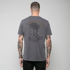 The 'Bad Vibes T-Shirt' in charcoal from the 'Dark Daze' summer collection.
