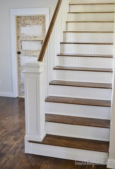 How to Build a Newel Post | Beneath My Heart. Like the bead board stairs