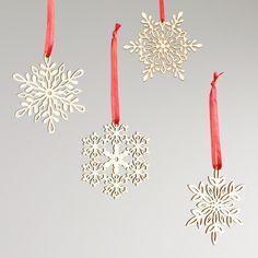 Wood Laser-Cut Snowflake Ornaments, Set of 12   World Market $7.99