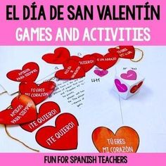 If you are looking for a fun and simple activity that will bring a lot of learning in Spanish class, look no further!This set includes:1. Roll A Heart Game2. Memory game3.Valentine's Day banner (same template from the memory game)4. Templates for students