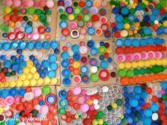 Composition en bouchons , Activité manuelle et bricolage enfant