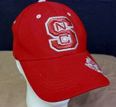 NC State Wolfpack Fitted Hat Baseball Cap Red Embroidered Silver Flexible Fit  #TopoftheWorld #BaseballCap