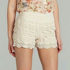 JOLT brand white crocheted shorts White crocheted shorts with an elastic waistband....polyester/cotton mix... Jolt Shorts