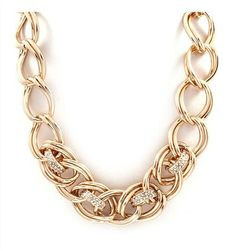 DaisyGem | Gold Rhinestone Jeweled Pendant Chunky Chain Link Necklace