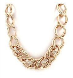 DaisyGem   Gold Rhinestone Jeweled Pendant Chunky Chain Link Necklace