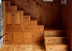 wooden staircase - great storage idea