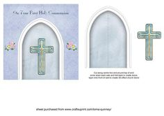 Blue Arch First Communion Card on Craftsuprint - Add To Basket!