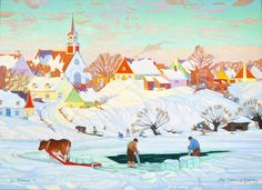 Luther Pokrant, & Harvest - After Clarence Gagnon& at Mayberry . Canadian Painters, Canadian Artists, Clarence Gagnon, Erin Hanson, Of Montreal, Winter Scenes, Luther, Amazing Art, Mosaics