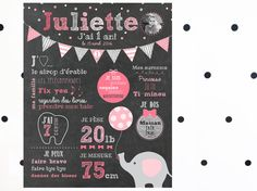First birthday chalkboard – Pink Elephant_CUSTOM DIGITAL FILE_little girl first birthday, pink and silver, chalkboard, smash the cake Affiche personnalisée anniversaire Elephant digital rose_FICHIER, jour 1 an… First Birthday Posters, First Birthday Chalkboard, Girl First Birthday, Birthday Diy, Birthday Cake, Birthday Parties, Unusual Baby Names, Personalized Posters, Elephant Birthday