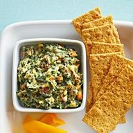 Spinach Artichoke Dip: Jazz up purchased dip with just 3 extra ingredients. Recipe: http://www.midwestliving.com/recipe/spinach-artichoke-dip/