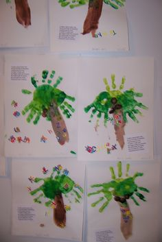 Chicka Chicka Boom Boom:  You can't start the preschool year   without a keepsake handprint project!    The poem says it all:  I made a special palm tree  On my first day of preschool.  I painted parts of me  To make it really cool!  My fingers made the coconuts.  My hands made the leaves.  My arm made the trunk.  preschool's such a breeze!