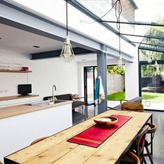 New Kitchen Lighting Industrial Exposed Beams 62 Ideas Metal Building Homes, Building A House, Foyers, House Extension Design, House Design, Cabana, Open Plan Kitchen Dining Living, Metal Beam, Industrial Style Kitchen