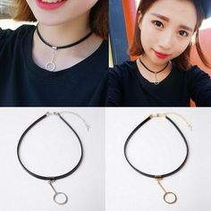 1pc Sexy Womens Black Faux Leather Circle Pendant Choker Collar Necklace Jewelry #Unbranded #Pendant