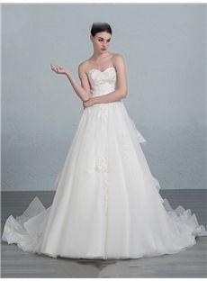 All Sizes Glamorous & Dramatic Court Sleeveless Fall Spring Church Sequins Wedding Dress