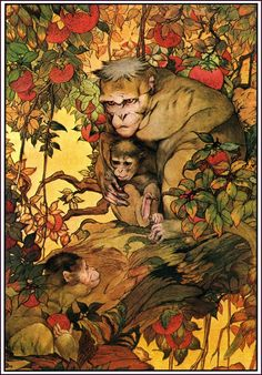 The Monkeys and Their Mother - The Fables of Aesop, 1909 (Does anyone know the artist? It's lovely)