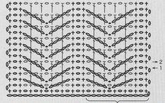 crochet stitch No 13 (christmas trees) Cross Patterns, Crochet Stitches Patterns, Crochet Designs, Stitch Patterns, Knitting Patterns, Crochet Diagram, Crochet Chart, Crochet Motif, Crochet Basics
