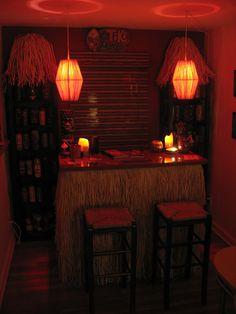 Ready for a drink at this Tiki bar!  Vintage Tiki, Tiki Bar, Tiki Decor!