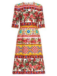 Carretto-print midi dress