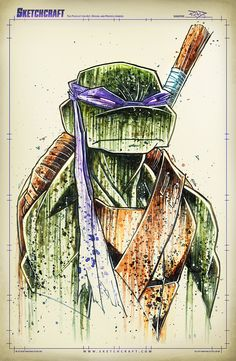 "comicsforever: "" TMNT // artwork by Rob Duenas (2014) Featuring Leo, Raph, Mike and Don in original B&W and colors. B&W: Saucy Retro Noir Colors: Saucy Watercolors and Inks. """