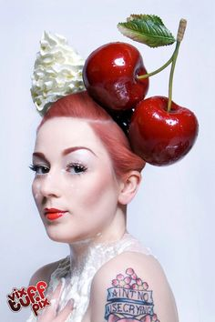 This fascinator is literally good enough to eat! Giant Cherry Headband Burlesque Fascinator Hat Millinery Rockabilly Red Hair Accessory Bridal by Pearls & Swine Halo Headband, Bride Headband, Fascinator Headband, Headbands, Hair Fascinators, Crazy Hat Day, Crazy Hats, Red Hair Accessories, Bridal Accessories