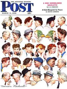 """The Gossips"" From March 5, 1948. Norman Rockwell painted himself and his wife among all the busybodies in this illustration."
