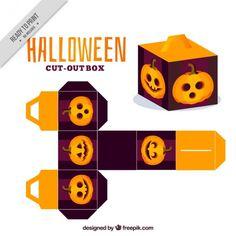 Dekorative Box mit einem Halloween-Kürbis Kostenlose Vektoren