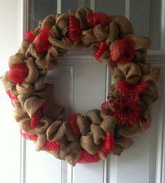 Burlap Xmas wreath