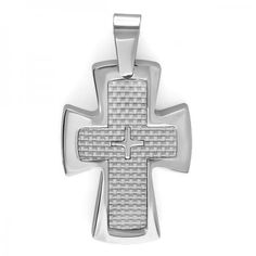 Share and get $20 off your order of $100 or more. Stainless Steel White Carbon Fiber Inlay Men's Platinum Religious Cross Pendant (1 Inch Width x 1.75 Inch Length) - Dazzling Rock #https://www.pinterest.com/dazzlingrock/