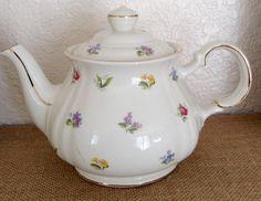 Vintage SADLER CHINTZ MULTIFLORAL Teapot Shabby Prairie Cottage Bone China Chic by FRENCHPRAIRIECOTTAGE on Etsy