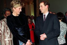 The Princess of Wales and Prince Edward chatting at a Commonwealth Day reception at Marlborough House in March 1993.