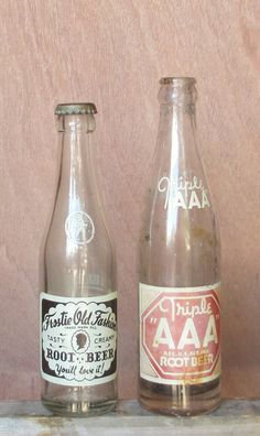 Vintage ROOT BEER Pop Soda Bottles, Frostie Old Fashion and Triple AAA, Soda Pop Glass Collectables, Oklahoma and Maryland Mfg.