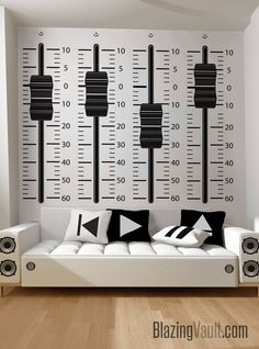 Mixing Console Sliders Wall Decal Black- Recording Studio Music Producer Audio Waves Speakers Beats Dance by Marcos Crespo for Blazing Vault Sound Counsel Knöpfe Wandtattoo Tonstudio Musik Wall Sticker, Wall Decals, Wall Art, Home Studio Musik, Music Studio Decor, Music Wall Decor, Deco Cool, Deco Studio, Recording Studio Design