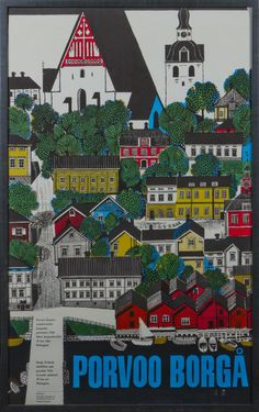 Porvoo by Erik Bruun Tourism Poster, Travel Posters, City Illustration, Square Photos, Flash Photography, Photo Checks, Travel And Tourism, Taking Pictures, Graphic Design Art