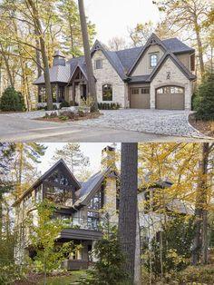 Mountain Home Exterior, Cottage Exterior, Dream House Exterior, Exterior House Colors, Exterior Design, Dream Home Design, House Design, Cabana, Lakefront Homes