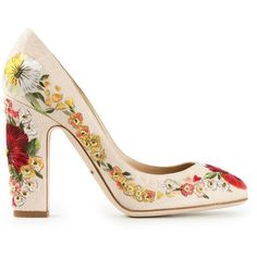 Dolce & Gabbana 'Vally' pumps (€975) ❤ liked on Polyvore featuring shoes, pumps, heels, high heels, sapatos, floral-print shoes, high heel shoes, beige pumps, block heel court shoes and embroidered shoes