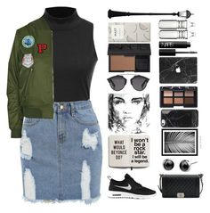 """Bomber jacket"" by marias1808 ❤ liked on Polyvore featuring Topshop, NIKE, Chanel, WALL, Shinola, Christian Dior, NARS Cosmetics, Dot & Bo, Gama Sonic and bomberjackets"
