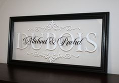 """Personalized Family Name Sign Solid Wood Picture Frame Established Date Last Name Monogram Wedding Gift Anniversary Gift 9""""x19"""""""