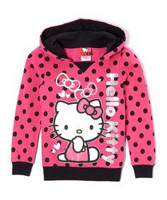 Fuchsia Polka Dot Hello Kitty Hoodie - Toddler & Girls #zulily #zulilyfinds