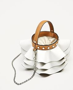 Details about  NWT ZARA FRILLED BUCKET BAG white womens satchel leather Ref 4638/204 bloggers