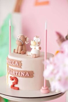 Take a look at this cute animal-themed birthday party! Love the cake! See more party ideas and share yours at CatchMyParty.com Animal Themed Birthday Party, Animal Birthday Cakes, Animal Cakes, Animal Party, Birthday Party Themes, Girl Birthday, Woodland Animals, Boy Or Girl, Cute Animals