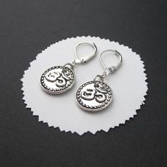 Om #Earrings Round #Coin Antiqued #Silver Raised Double Sided Leverbacks @TheSingingBeader