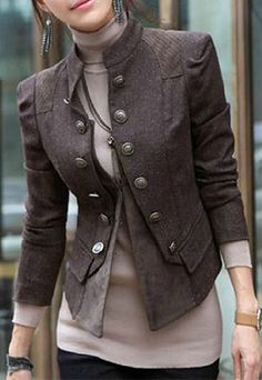 Chic and tailored military inspired jacket. Women's fall outerwear clothing outfit