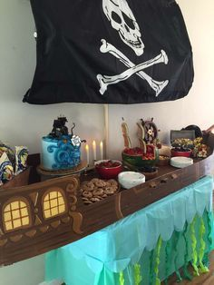 Cool dessert table at a pirates birthday party! See more party ideas at CatchMyParty.com!