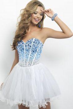 Stones Layered Short White Blue Homecoming Dresses 2013