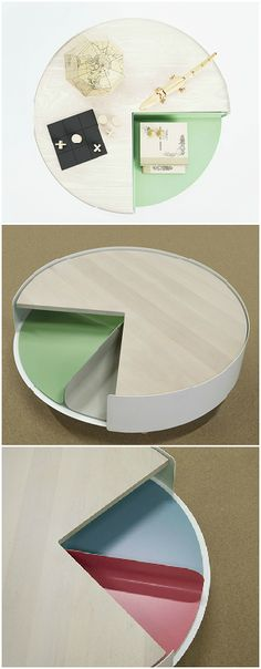 Inspired by the pie chart, the Times 4 table is a playful twist on the coffee table that offers an innovative storage solution. #Table #Storage #Furniture #YankoDesign