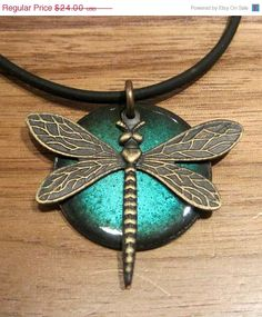 Dragonfly Pendant Copper Enamel Jewelry Water Blue Handmade $20.40