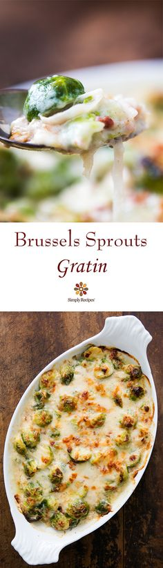 Brussels sprouts baked with shallots and pancetta in a cheesy Gruyere sauce. On SimplyRecipes.com