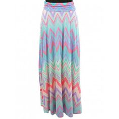Pastel Zigzag Chevron Maxi Skirt and dress- Colorful zigzag print fold-over floor length maxi skirt
