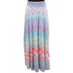 Pastel Zigzag Chevron Maxi Skirt and dress- Colorful zigzag print fold-over floor length maxi skirt